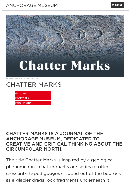 Fluid Places – a Leavetakings excerpt published in Anchorage Museum's Chatter Marks